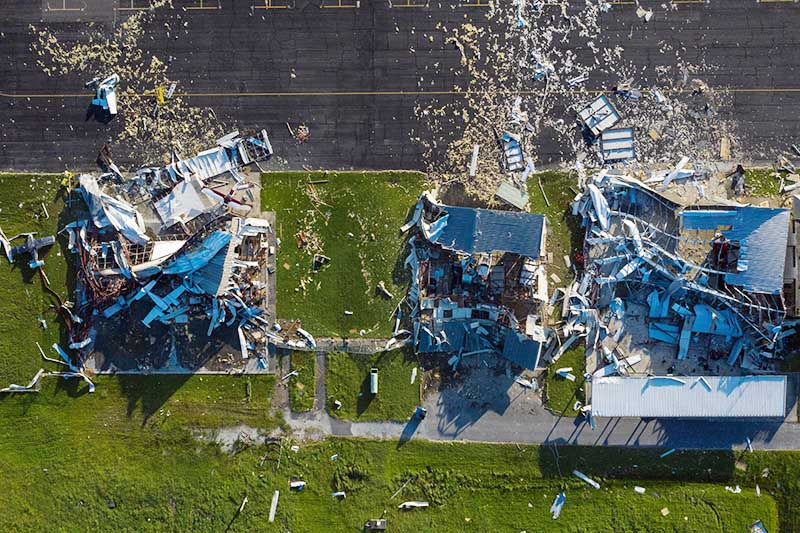 The Southland Field airport is seen damaged in the aftermath of Hurricane Laura in Sulphur, Louisiana, US, on August 27, 2020. Image taken with a drone. Photo: Reuters