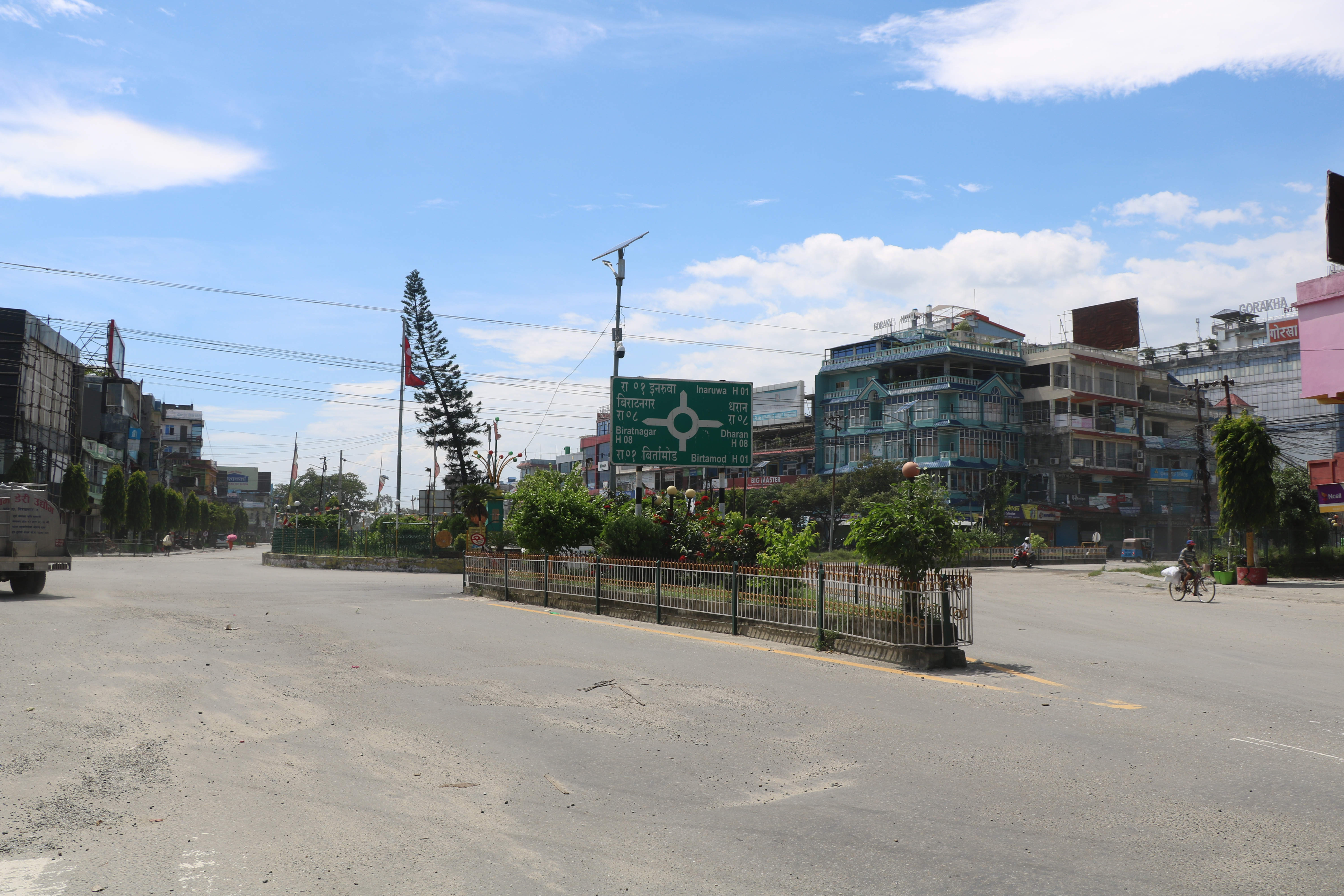Itahari wears a deserted look following imposition of prohibitory order, on Wednesday, August 5, 2020. Photo: Santosh Kafle/THT