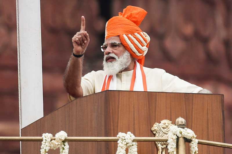 Indian Prime Minister Narendra Modi addresses the nation during Independence Day celebrations at the historic Red Fort in Delhi, India, on Friday, August 15, 2020. Photo: Reuters