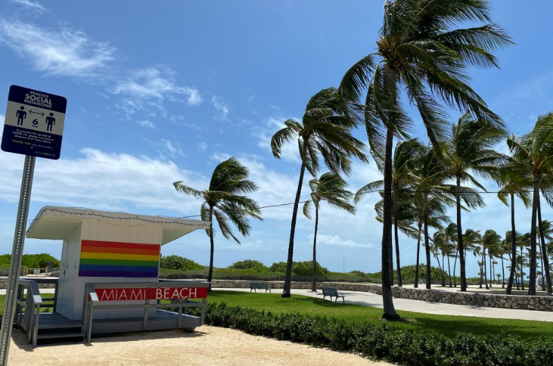 Palm trees bend in the winds preceding Hurricane Isaias in Miami Beach, Florida, US August 1, 2020. Photo: Reuters