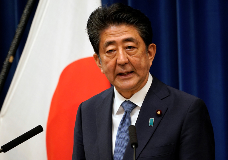 Japanese Prime Minister Shinzo Abe speaks during a news conference at the prime minister's official residence in Tokyo, Japan, August 28, 2020. Photo: Franck Robichon/Pool via Reuters