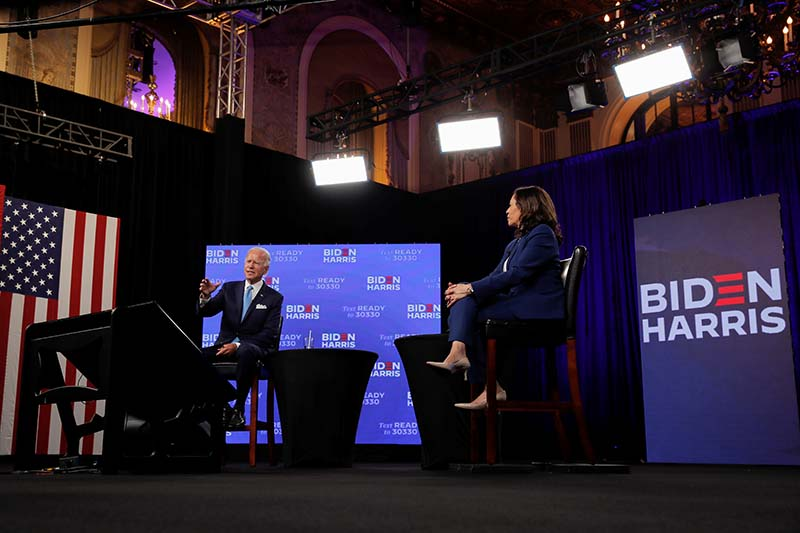 Democratic presidential candidate and former Vice President Joe Biden speaks during a virtual campaign fundraising event with vice presidential candidate Senator Kamala Harris in Wilmington, Delaware, US, on August 12, 2020. Photo: Reuters