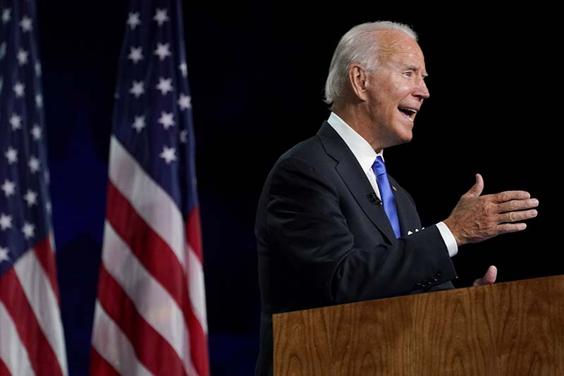 Former US Vice President Joe Biden accepts the 2020 Democratic presidential nomination during a speech delivered for the largely virtual 2020 Democratic National Convention from the Chase Center in Wilmington, Delaware, US, on August 20, 2020. Photo: Reuters