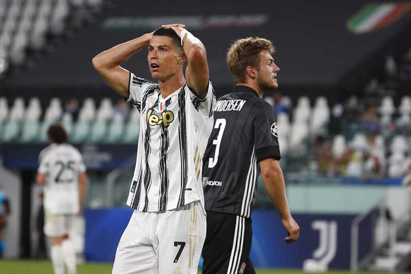 Juventus' Cristiano Ronaldo reacts during the Champions League round of 16 second leg, soccer match between Juventus and Lyon at the Allianz stadium in Turin, Italy, Friday, August 7, 2020. Photo: AP