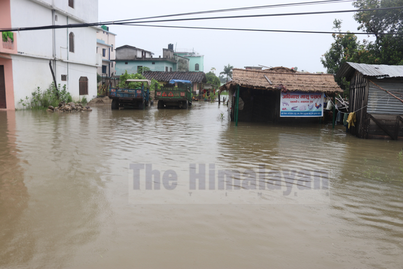 Rainfall inundated campus road area, Dhangadhi, on Monday, August 10, 2020. Photo: Tekendra Deuba/THT
