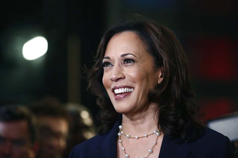 FILE - Then Democratic presidential candidate Senator Kamala Harris, D-Calif., listens to questions after the Democratic primary debate hosted by NBC News at the Adrienne Arsht Center for the Performing Art in Miami, on June 27, 2019. Photo: AP