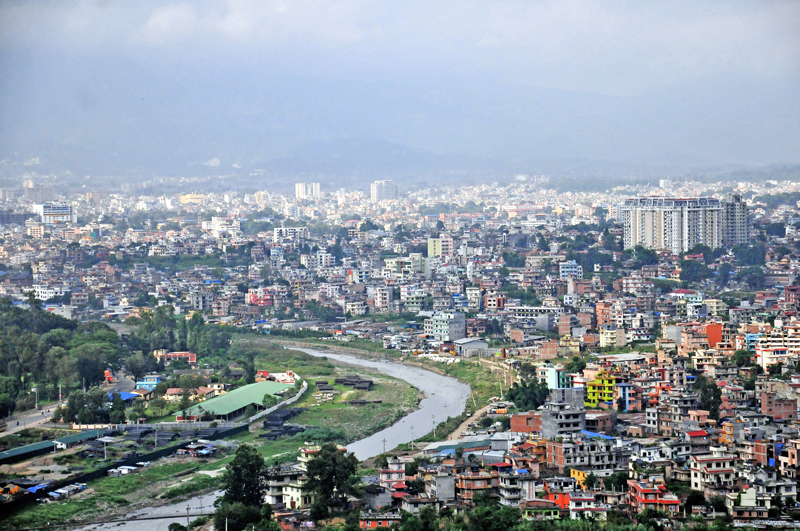 A view of Kathmandu Valley from Kirtipur, on Monday, August 29, 2016. The valley has witnessed excessive population boom over the past few years. Photo: THT