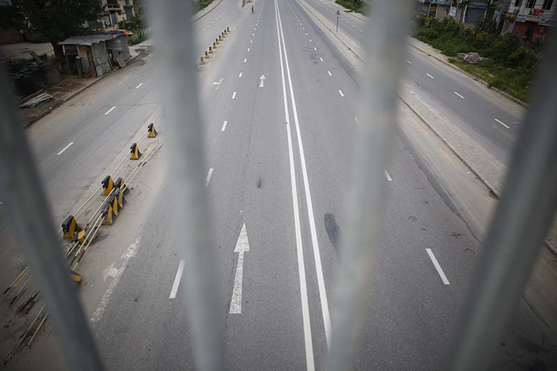 A deserted view of the road is pictured in Kathmandu, on Thursday, August 20, 2020. Photo: Skanda Gautam/THT