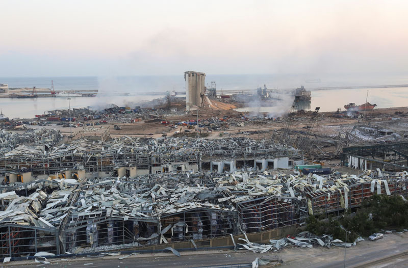 A general view shows the aftermath at the site of Tuesday's blast in Beirut's port area, Lebanon August 5, 2020. Photo: Reuters