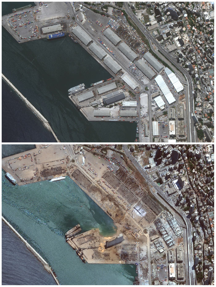 This combination of satellite images provided by Maxar Technologies shows the port of Beirut and the surrounding area in Lebanon, top, on June 9, 2020, and the same area on Wednesday, Aug. 5, 2020, the day after a massive explosion that left entire city blocks blanketed with glass and rubble. Photo: u00a92020 Maxar Technologies via AP