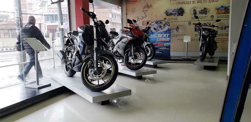 Motorcycles are on display at Yamaha showroom belonging to Morang Auto Works (MAW) Enterprises in Tripureshor, Kathmandu, in July 2020. Photo courtesy: Kumar Tamang