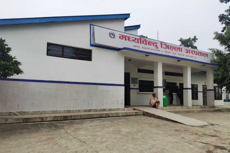 This image shows the building of Madhyabindu District Hospital, Kawasoti in Nawalpur district, in November 2019. Photo courtesy: Aashish Poudel
