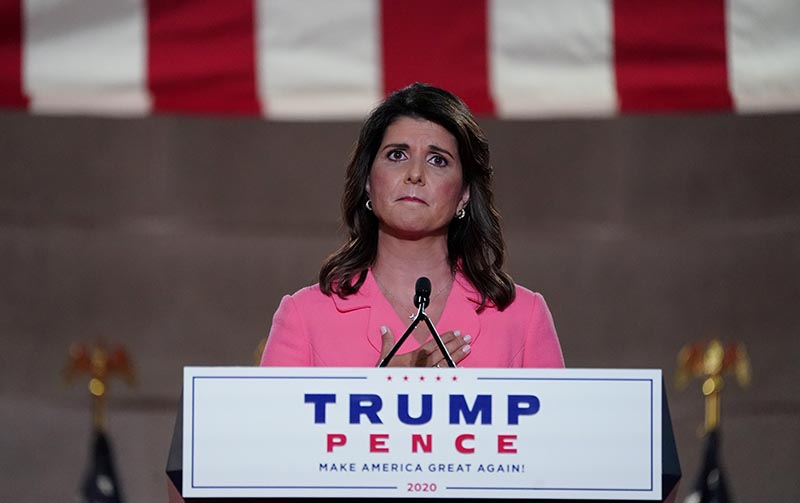 Former US Ambassador to the United Nations Nikki Haley puts her hand over her heart as she speaks to the largely virtual 2020 Republican National Convention in a live address from Washington, US, on  August 24, 2020. Photo: Reuters