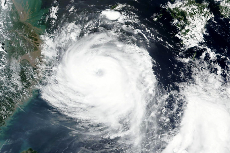 This Aug. 25, 2020, satellite image released by NASA shows Typhoon Bavi near South Korean island of Jeju. Photo: NASA Worldview, Earth Observing System Data and Information System (EOSDIS) via AP