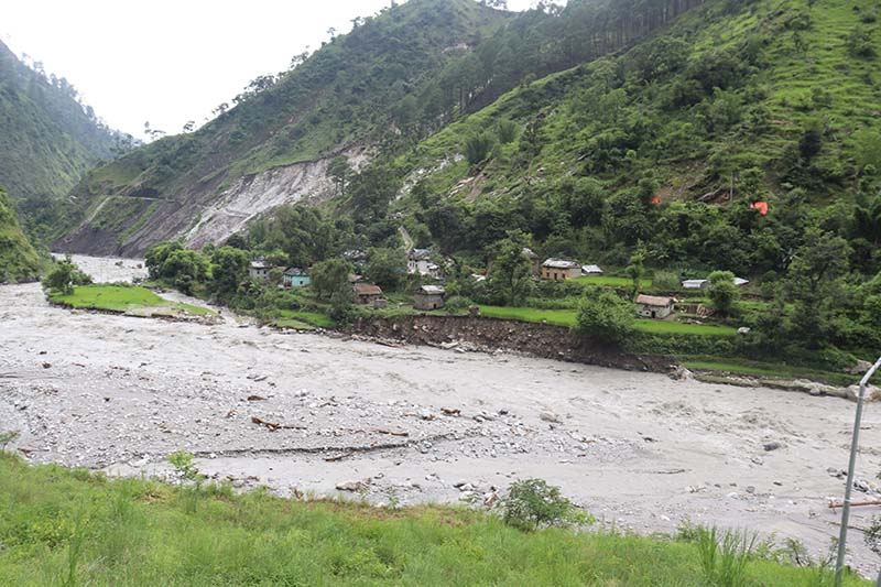 This image shows Olena village on the bank of Budhiganga River in Badimalika Municipality-4 of Bajura district, on Thursday, August 13, 2020. The village is at the risk of landslide and flood. Photo: Prakash Singh/THT