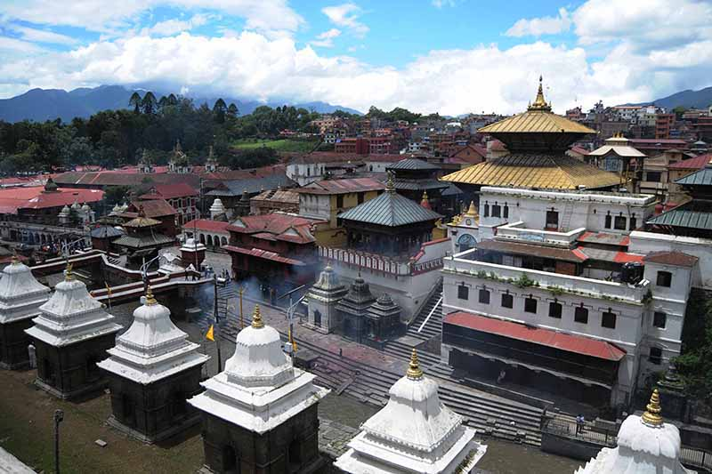 Pashupatinath temple premises wear a deserted look on the day coinciding Haritalika Teej festival in Kathmandu, on Friday, August 21, 2020. The temple has been closed as a week-long prohibitory order has been issued to prevent the spread of novel coronavirus. Photo: Balkrishna Thapa/THT