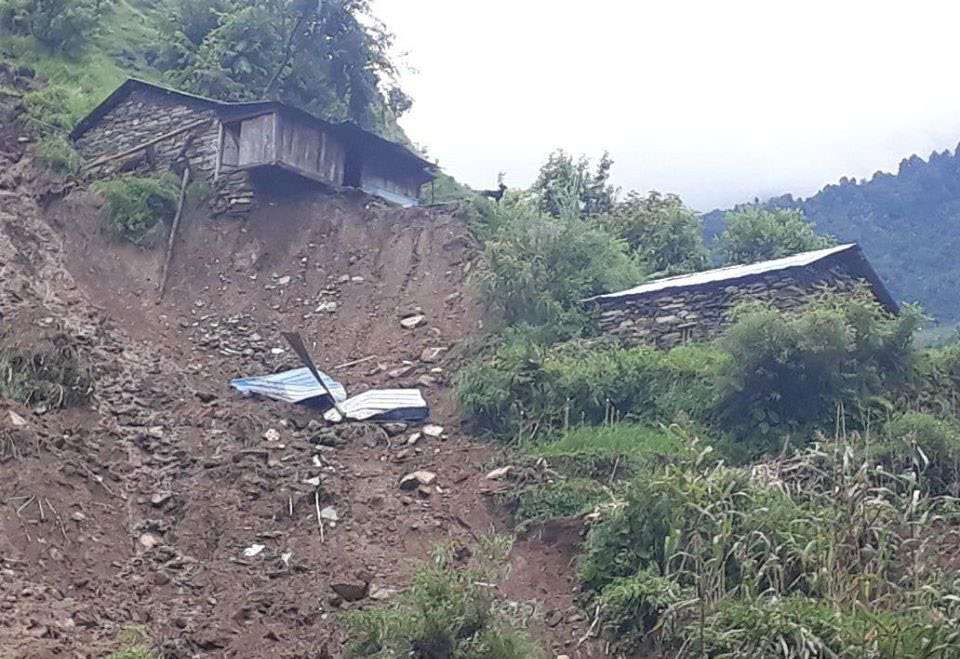 A view of a house which is at high risk of being swept away by landslide in Rubivalley Rural Municipality, on Tuesday. Photo: THT