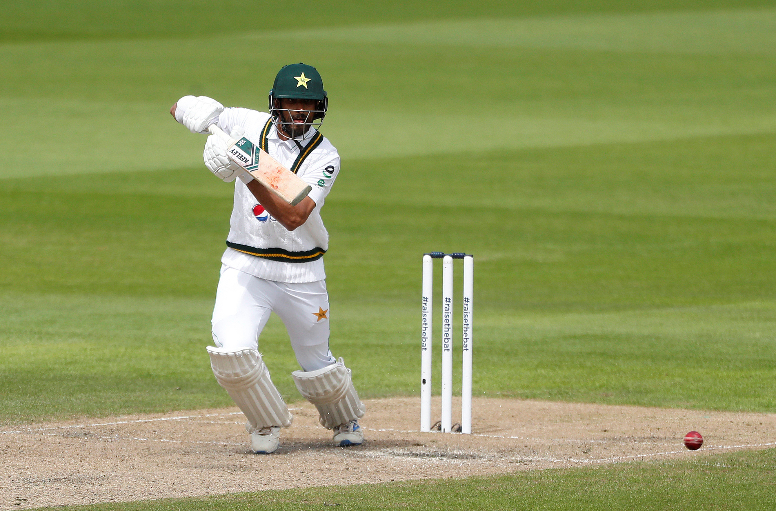 Pakistan's Shan Masood in action, as play resumes behind closed doors following the outbreak of the coronavirus disease (COVID-19). Photo: Reuters