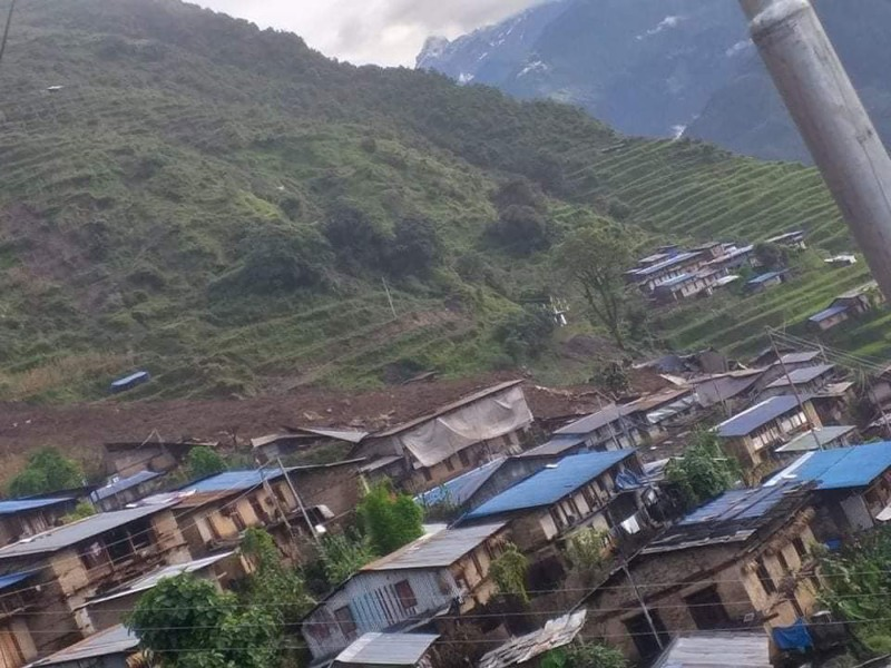 An aerial view of houses at Lidi in Jugal Rural Municipality-2, Sindhupalchok district, on Friday, August 14, 2020. More than 30 houses were buried in the landslide in the morning. Photo: RSS