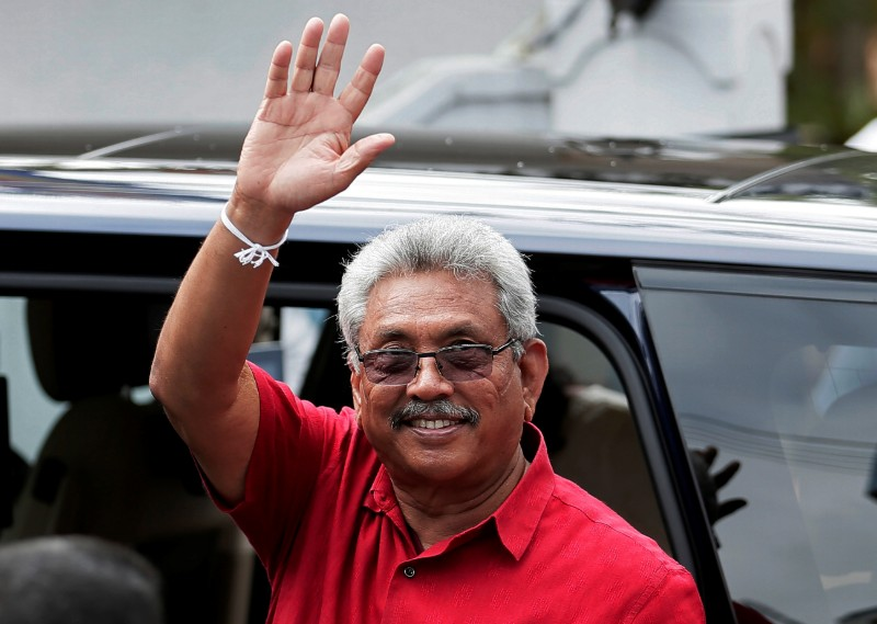 Sri Lanka's President Gotabaya Rajapaksa waves at his supporters as he leaves a polling station after casting his vote during the country's parliamentary election in Colombo, Sri Lanka, August 5, 2020. Photo: Reuters