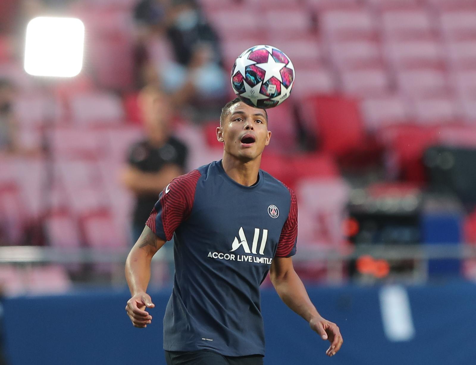 Paris St Germain's Thiago Silva during training. Photo: Reuters