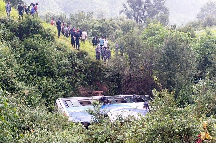 A view of the bus that skidded off the road in Purbachauki Rural Municipality-1 of Doti district on Wednesday, August 12, 2020. Photo: Tekendra Deuba/ THT