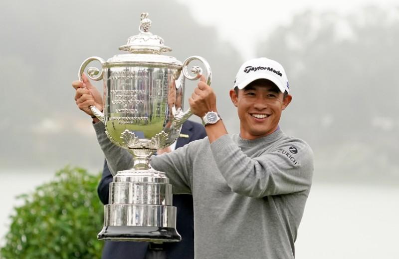 Collin Morikawa celebrates with the Wanamaker Trophy after winning the 2020 PGA Championship golf tournament at TPC Harding Park, in San Francisco, California, USA, on Aug 9, 2020. Photo:  Kyle Terada-USA TODAY Sports via Reuters