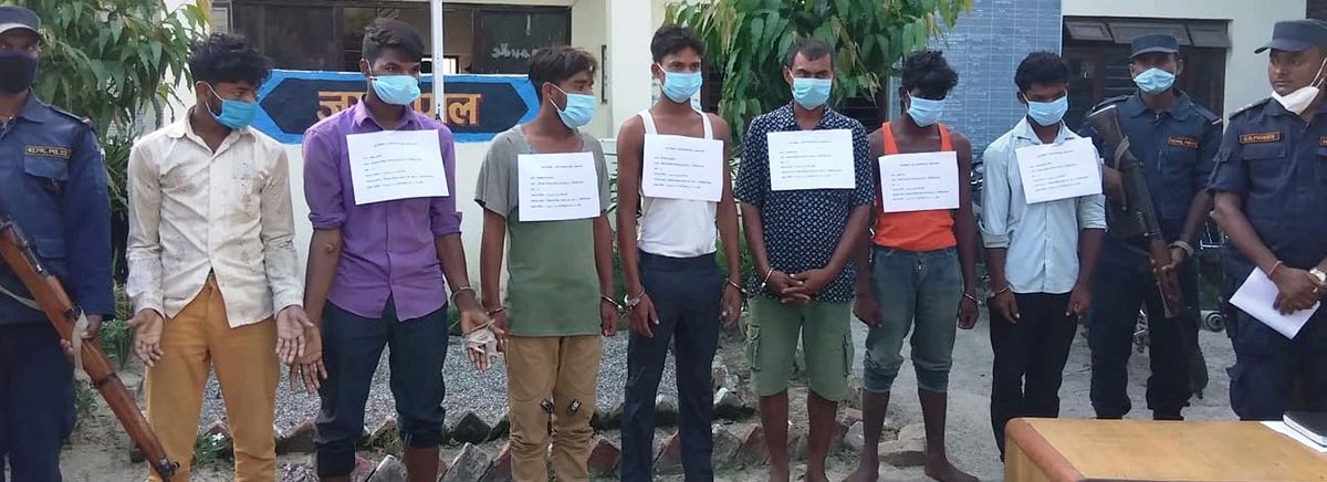 Police making public murder suspects at Garuda Area Police Office, in Rautahat, on Thursday. Photo: THT
