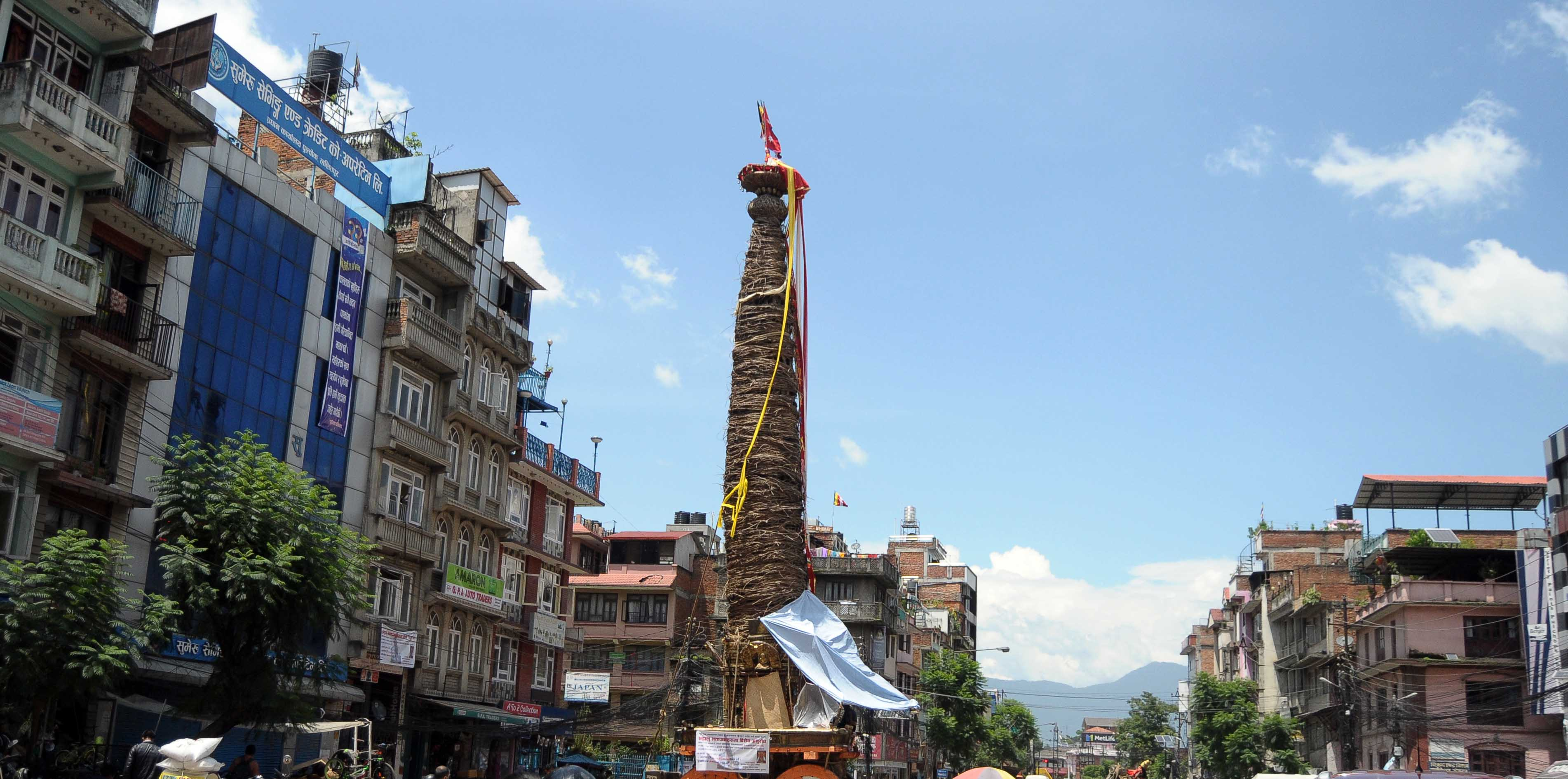 The chariot of Rato Machhindranath is pictured in Pulchowk, Lalitpur, on Saturday, August 8, 2020. Photo: Balkrishna Thapa/THT