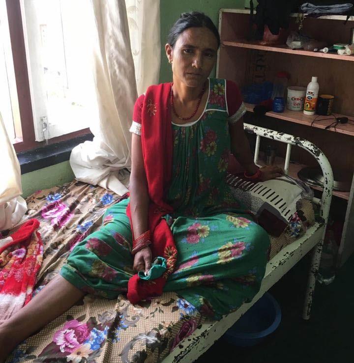 A financially weak woman from Bajura receiving treatment for uterine prolapse in Kathmandu, on Sunday. Photo: THT