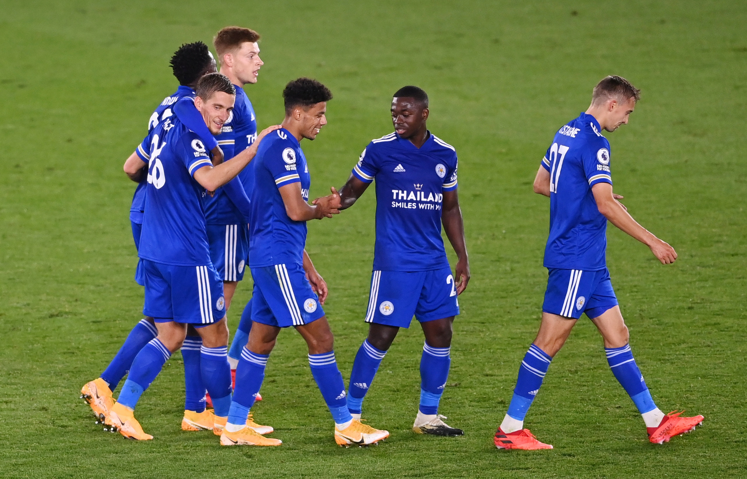 Leicester City's Dennis Praet celebrates scoring their fourth goal with Nampalys Mendy, James Justin and teammates. Photo: Reuters