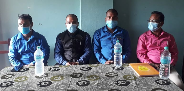 Family members of journalist Nirmala Pahari, who was found dead in Kailaliu2019s Ghodaghodi forest, holding a press conference in Dhangadi, Kailali, on Saturday. Photo: THT