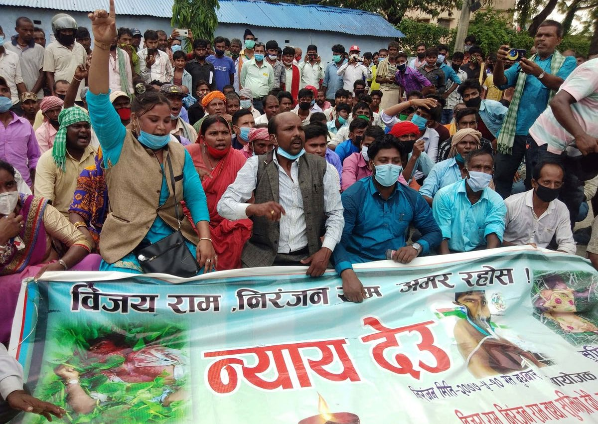 People from Dalit community staging a demonstration in front of District Police Office, Gaur, on Tuesday. Photo: THT