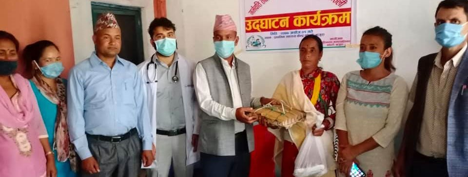 Nutritional gifts being provided to parents at an event, in Bajura, on Thursday. Photo: THT