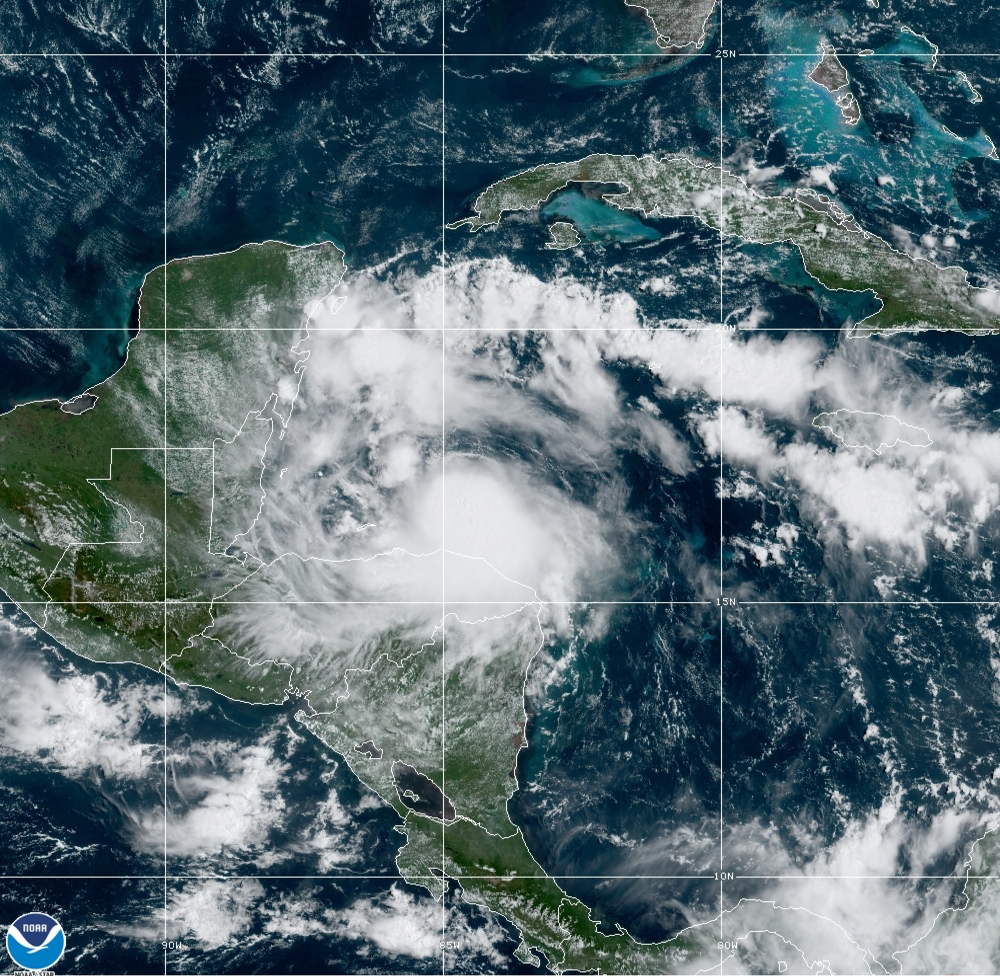 This satellite image released by the National Oceanic and Atmospheric Administration (NOAA) shows Tropical Storm Nana approaching Belize, Wednesday, Sept. 2, 2020. The storm is expected to strengthen throughout the day and make landfall in Belize as a hurricane late Wednesday or early Thursday. Photo: AP