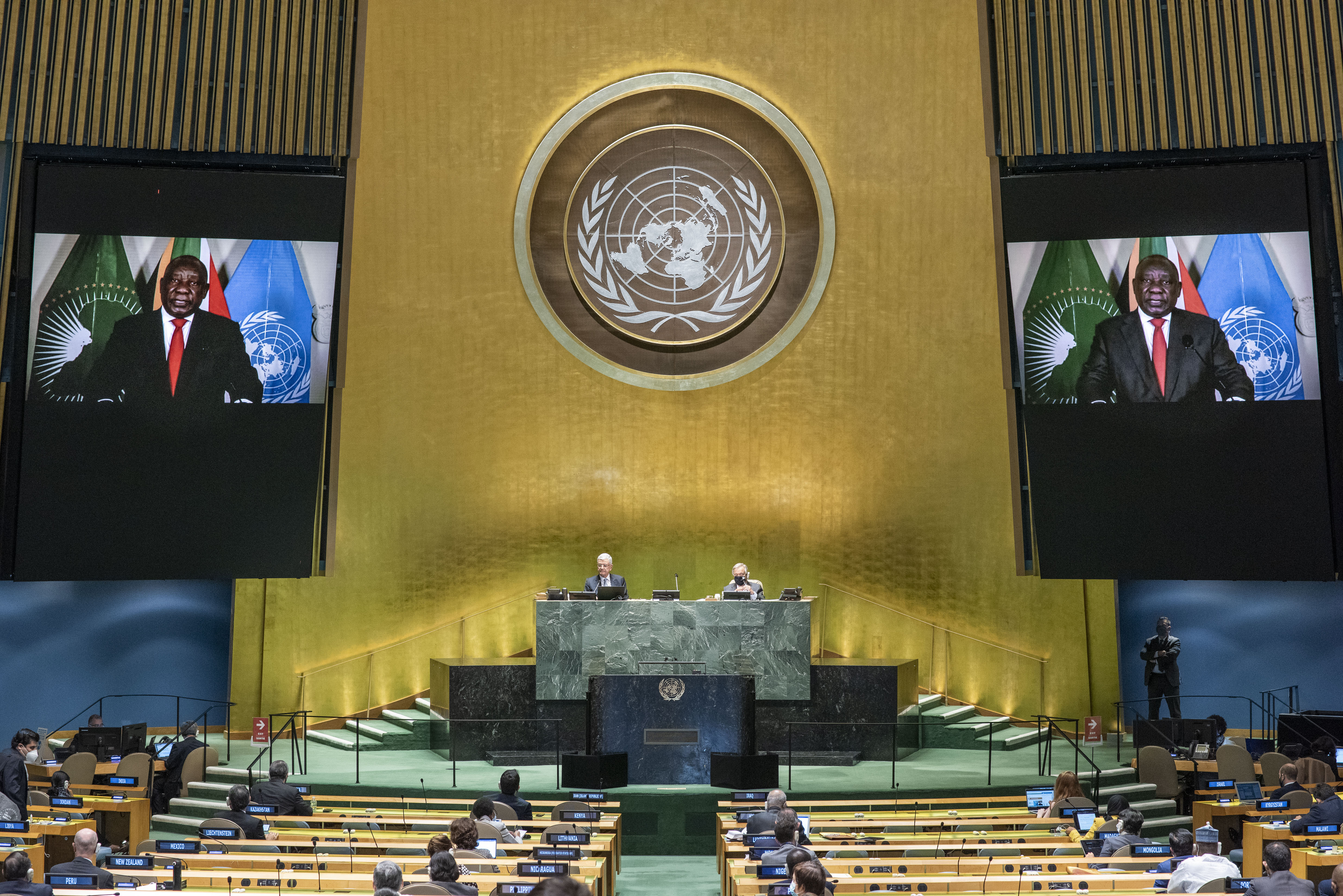 In this photo provided by the United Nations, South African President Cyril Ramaphosa speaks in a pre-recorded message played during the 75th session of the United Nations General Assembly, Tuesday, Sept. 22, 2020, at U.N. headquarters in New York. The U.N.'s first virtual meeting of world leaders started Tuesday with pre-recorded speeches from some of the planet's biggest powers, kept at home by the coronavirus pandemic that will likely be a dominant theme at their video gathering this year. Photo: AP