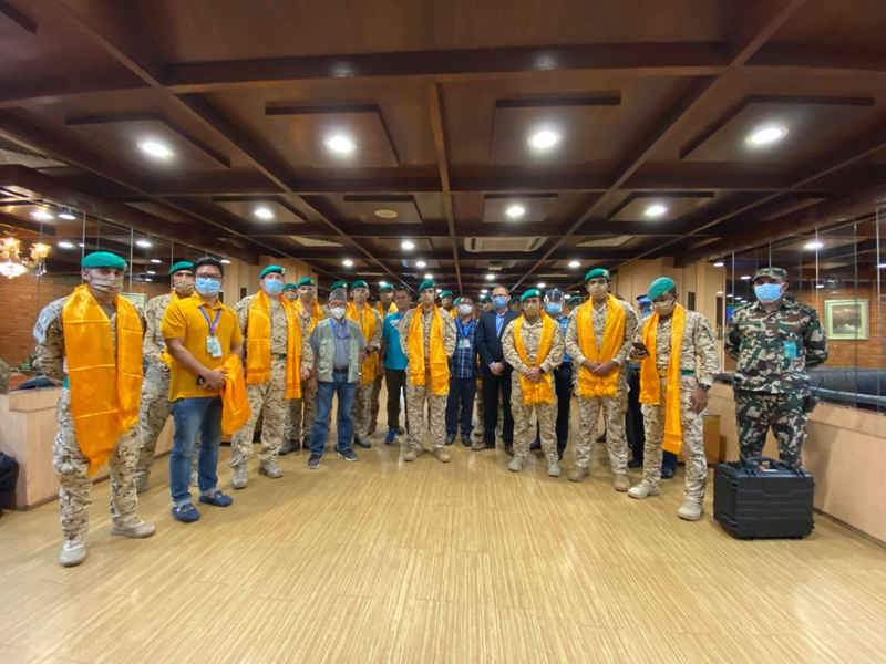Mingma Sherpa, Chairman at Seven Summit Treks, welcoming the team of Royal Guard of Bahrain attempting on Lobuche Peak 6119m and Mt. Manaslu 8163m, at Tribhuwan International Airport, on Wednesday, September 16, 2020.