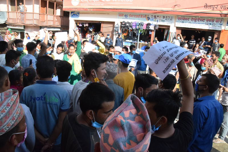 Locals rallying around the district headquarter Chainpur, Bajhang demanding the disclosure of the perpetrator. Photo: Prakash Singh/THT