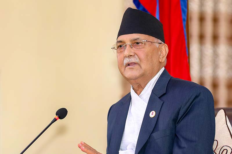 Prime Minister KP Sharma Oli addresses the consultation meeting with ministers and secretaries held to discuss the issues of acid attack victims, at his official residence in Baluwatar, Kathmandu, on Thursday, September 10, 2020. Photo: PM's secretariat/Rajan Kafle