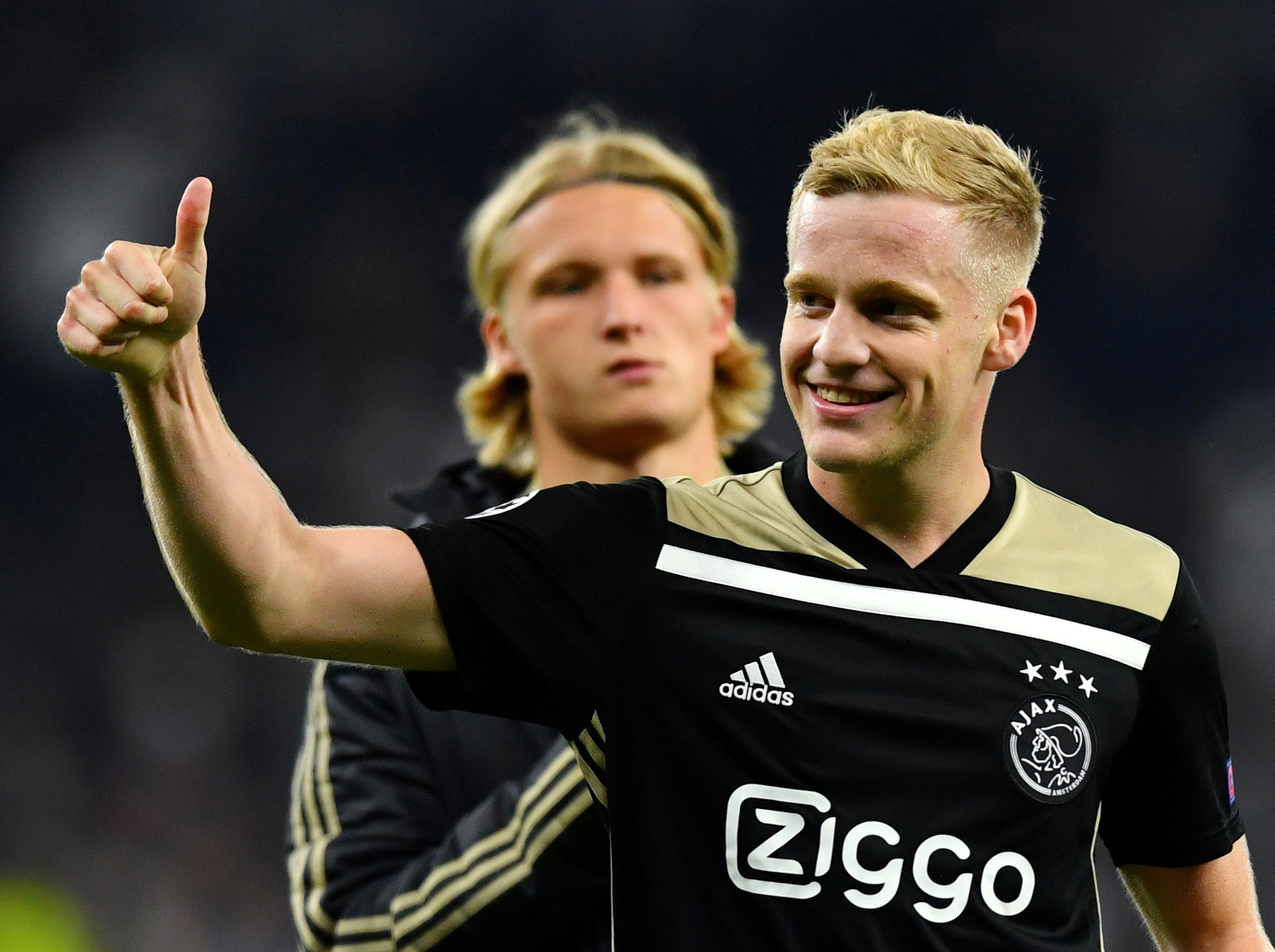 FILE- Ajax's Donny van de Beek celebrates after the match. Photo: Reuters