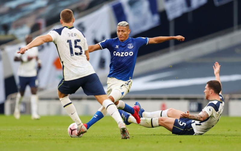 Everton's Richarlison in action with Tottenham Hotspur's Pierre-Emile Hojbjerg and Eric Dier during the Premier League match between Tottenham Hotspur and Everton, at Tottenham Hotspur Stadium, in London, Britain, on September 13, 2020. Photo: Pool via Reuters