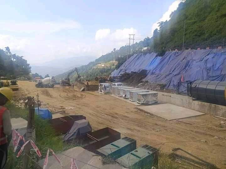 A view of an under construction site of Nagdhung tunnel at Sisnekhola in Dhading district, on Monday, September 07, 2020. Photo: Keshav Adhikari/THT