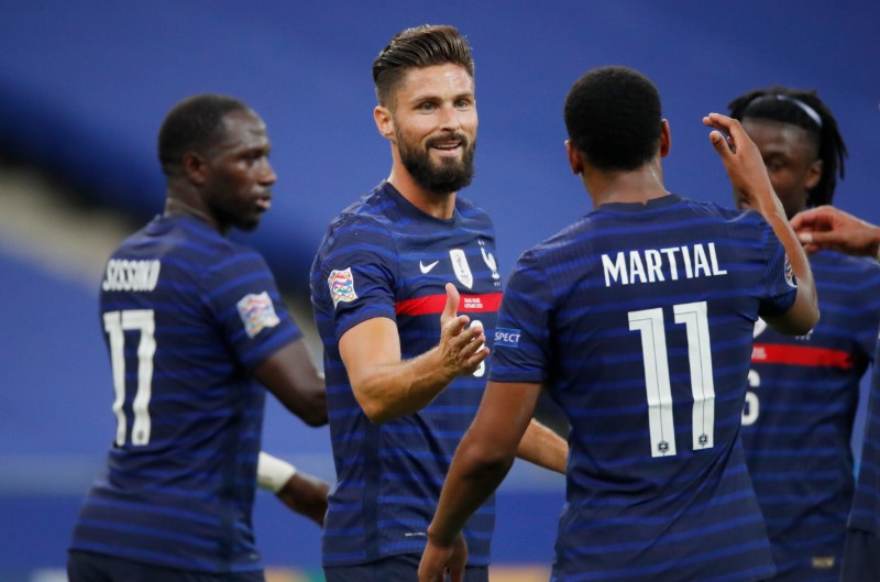 France's Olivier Giroud celebrates scoring their fourth goal with teammates during the UEFA Nations League  League A Group 3 match between France and Croatia,at Stade de France, in Saint-Denis, France, on September 8, 2020. Photo: Reuters