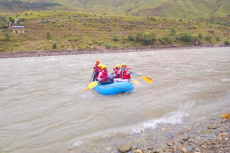 Tourists rafting on Karnali River, in Himali Rural Municipality, Bajura district, on Saturday, September 26, 2020. Photo: Prakash Singh/THT