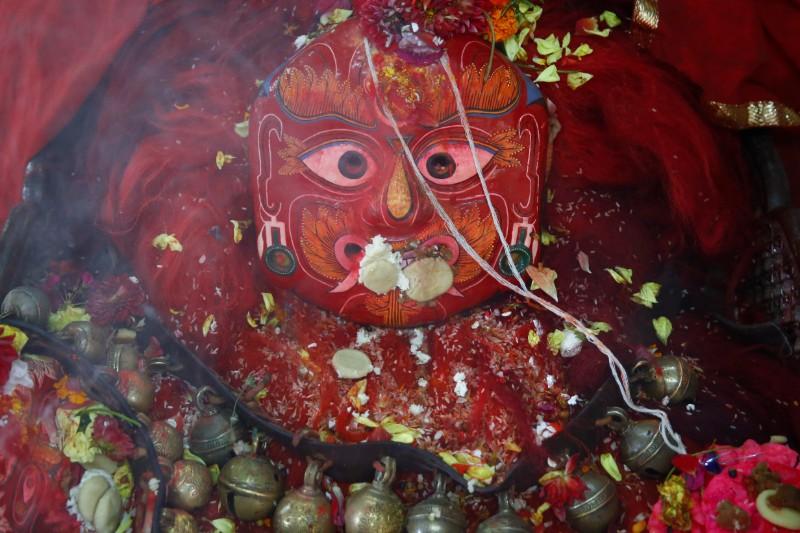 Mask of the Majipa Lakhey u0100ju- the protector of he children. Photo: Skanda Gautam/THT