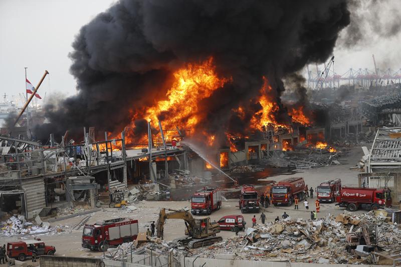 Fire burns in the port in Beirut, Lebanon, Thursday, Sept. 10. 2020. Photo: AP