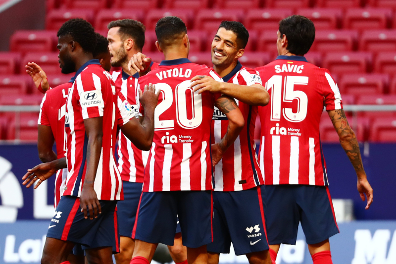 Atletico Madrid's Luis Suarez celebrates scoring their sixth goal with teammates  during the La Liga Santander match between Atletico Madrid and Granada, at  Wanda Metropolitano, in Madrid, Spain, on September 27, 2020. Photo: Reuters