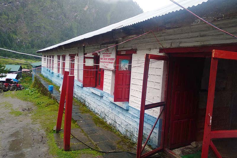 A view of the district hospital that has been providing health services to many people of remote areas on a daily basis in Manang, on Wednesday, September 9, 2020. Photo: THT