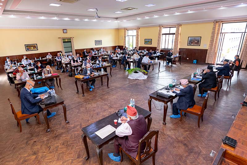 Nepal Communist Party (NCP) Co-chairs Prime Minister KP Sharma Oli and Pushpa Kamal Dahal among other leaders participate in the Standing Committee meeting held at PM's official residence in Baluwatar, Kathmandu, on Friday, September 11, 2020. Photo: PM's Secretariat/Rajan Kafle