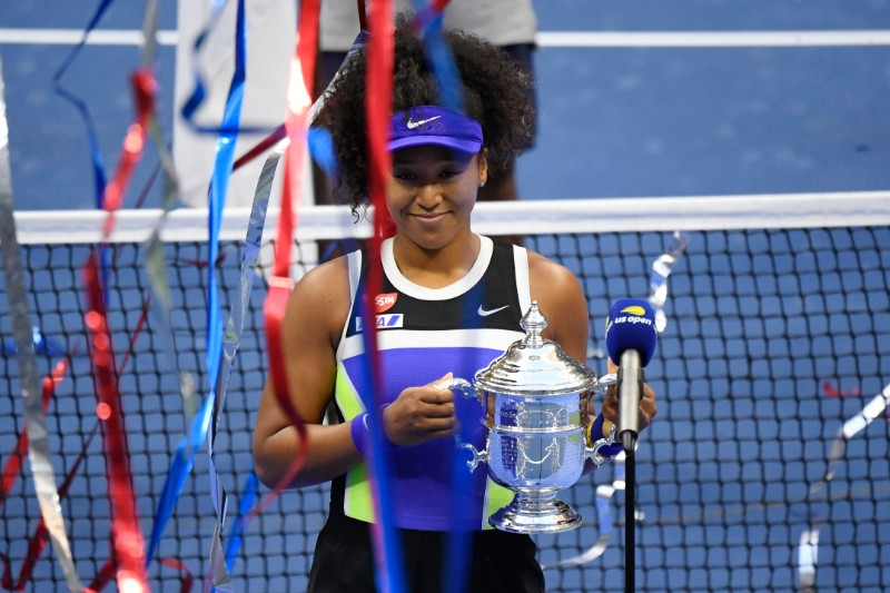 Naomi Osaka of Japan celebrates with the championship trophy after her match against Victoria Azarenka of Belarus (not pictured) in the women's singles final on day thirteen of the 2020 U.S. Open tennis tournament at USTA Billie Jean King National Tennis Center, in Flushing Meadows, New York, USA, on Sep 12 2020. Photo: Danielle Parhizkaran-USA TODAY Sports via Reuters